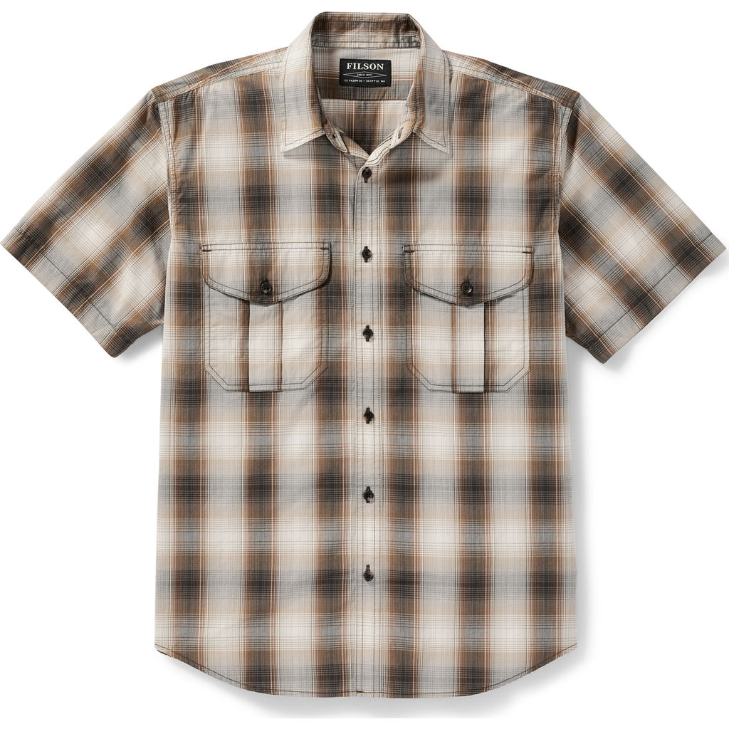 Filson Men's Short Sleeve Feather Cloth Shirt - Brown, Black Plaid
