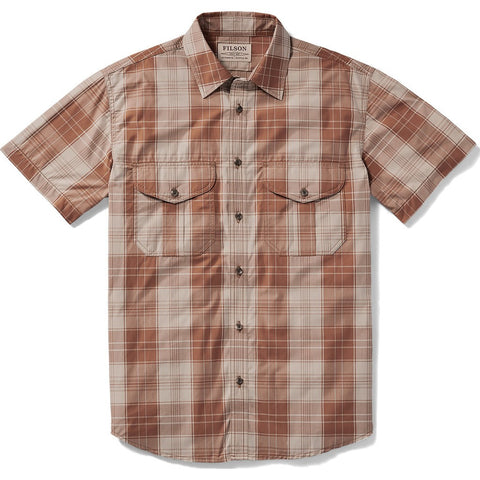 Filson Filson's Short Sleeve Feather Cloth Shirt | Brown/Cream Plaid 20008229 M