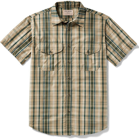 Filson Filson's Short Sleeve Feather Cloth Shirt | Khaki/Olive/Blue Plaid 20008229 L