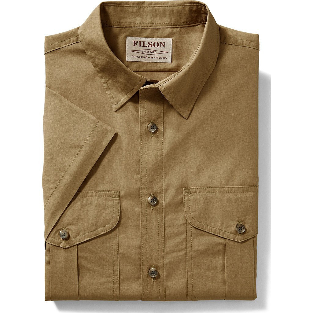 979255f69573d Filson Filson s Short Sleeve Feather Cloth Shirt Rugged Tan - Sportique