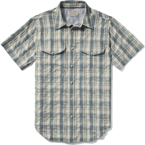 Filson Twin Lakes Short Sleeve Sport Shirt | Blue/White Moss Plaid 20008230 M