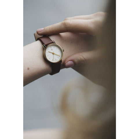 Void VO3P Round Petite Watch | Gold/Light Brown/White