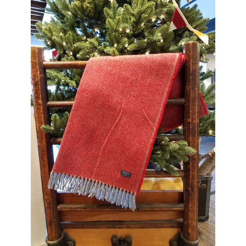 Faribault Ashby Twill Rolled Fringe Wool Scarf | Red BSATRD1512
