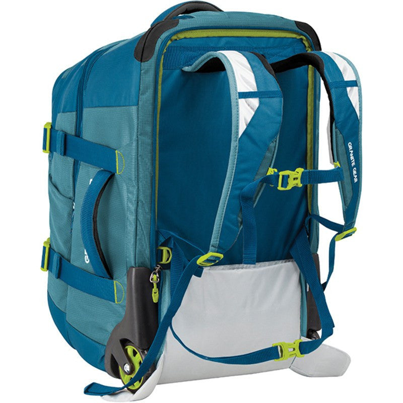 Granite Gear Cross Trek 22L Wheeled Duffel with Removable Backpack | Bleumine/Blue Frost/Neolime