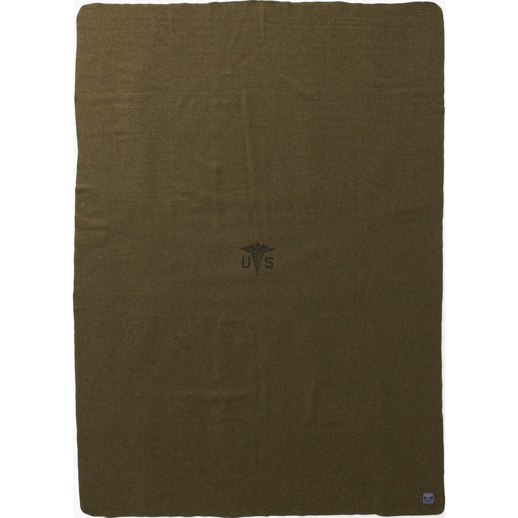 "Faribault Foot Soldier Military Wool Blanket | Army Medic Green 2074 66"" x 90"""