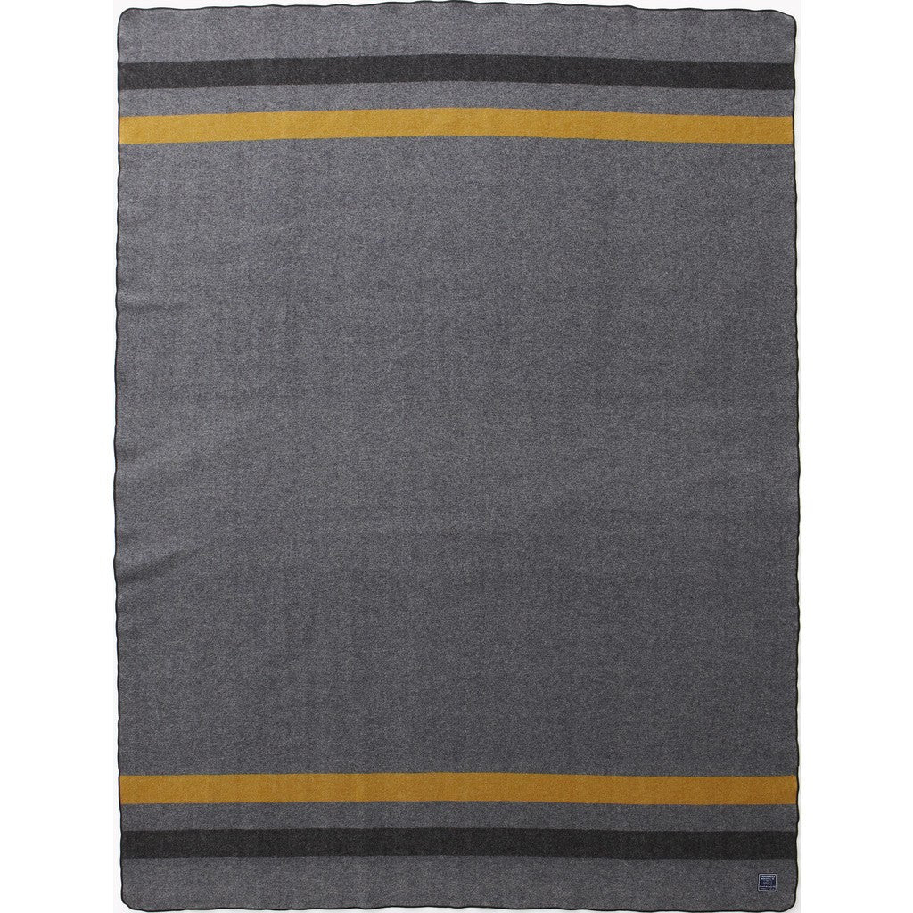 "Faribault Foot Soldier Military Wool Blanket | Gray/Gold/Black 2081 64"" x 90"""