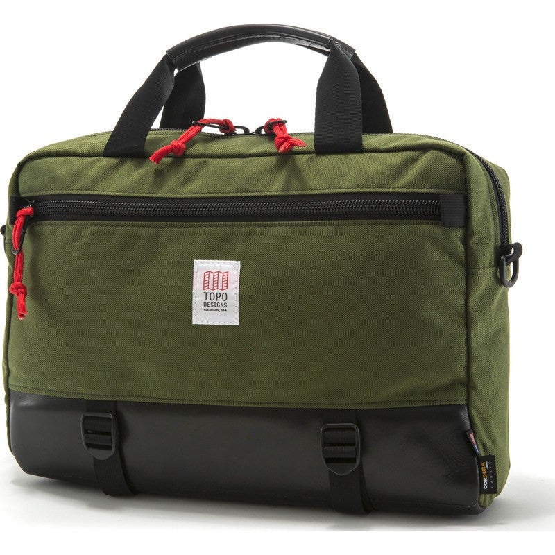 Topo Designs Commuter Briefcase | Olive/Black Leather