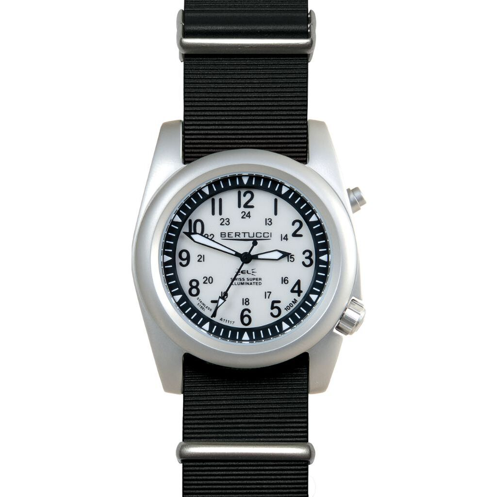 Bertucci A-2SEL Super Illuminated Watch - Ghost Gray El - Black Italian Rubber Nato Band
