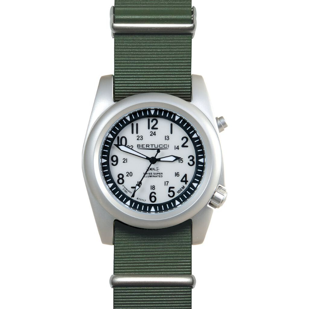 Bertucci A-2SEL Super Illuminated Watch - Ghost Gray El - Nurra Verde Italian Rubber Nato Band