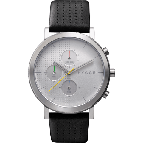 Hygge 2204 Silver Chronograph Watch | Leather