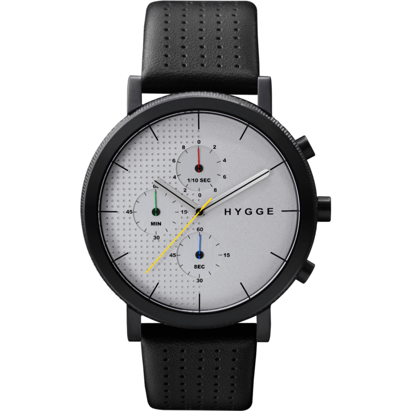 Hygge 2204 Series Black/Silver Watch | Leather
