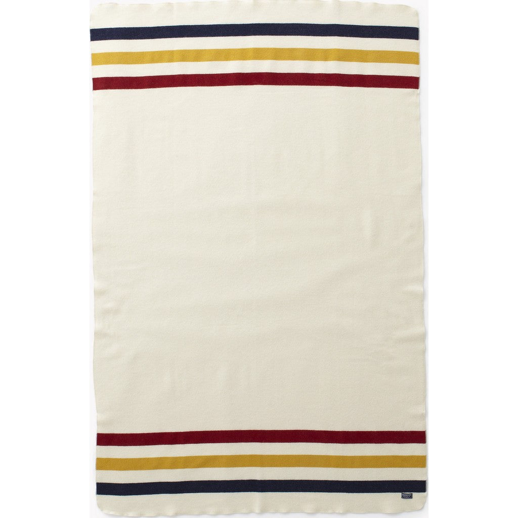 "Faribault Revival Stripe Wool Throw | Bone White 2234 50"" x 72"""