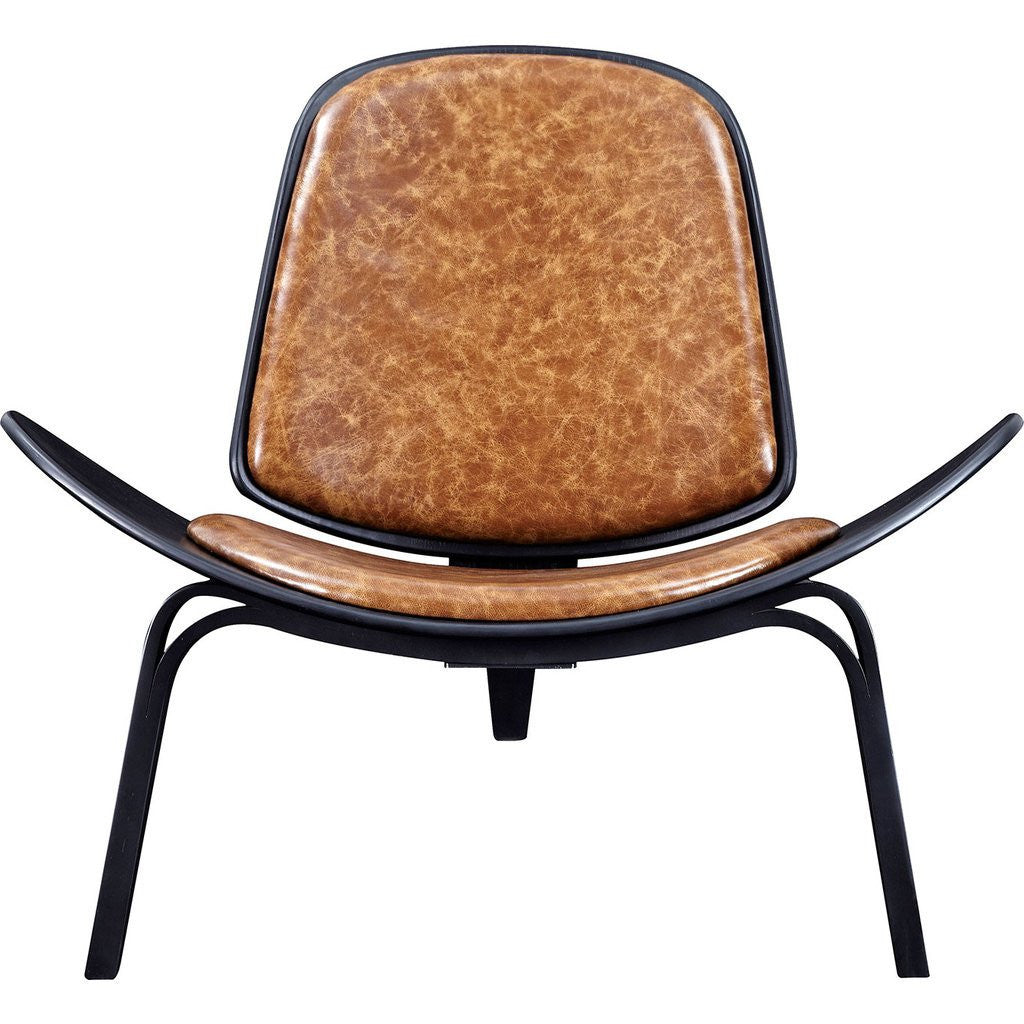 NyeKoncept Shell Chair | Black/Weathered Whiskey 224440-D