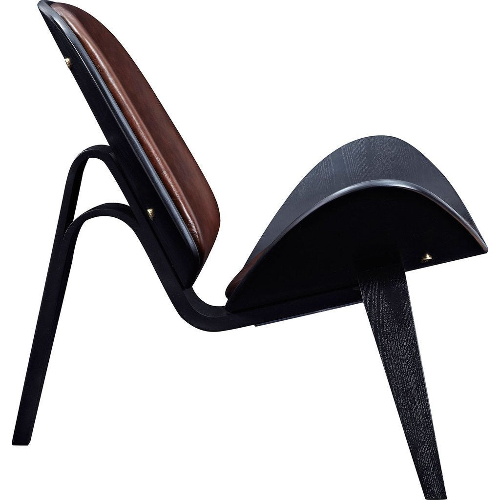 NyeKoncept Shell Chair | Black/Aged Cognac 224441-D