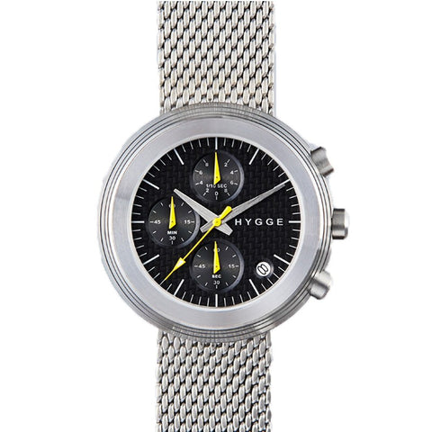 Hygge 2312 Series Chronograph Black/Silver Watch | Steel