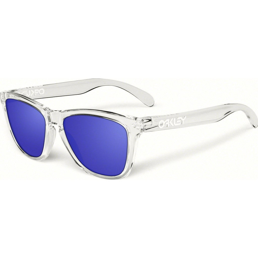Oakley Lifestyle Frogskins Polished Clear Sunglasses | Violet Iridium Polarized 24-305