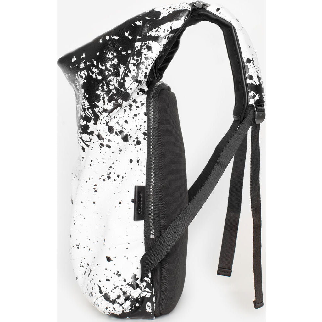Cote&Ciel Timsah Printed Alias Cowhide Leather Backpack | White/Black