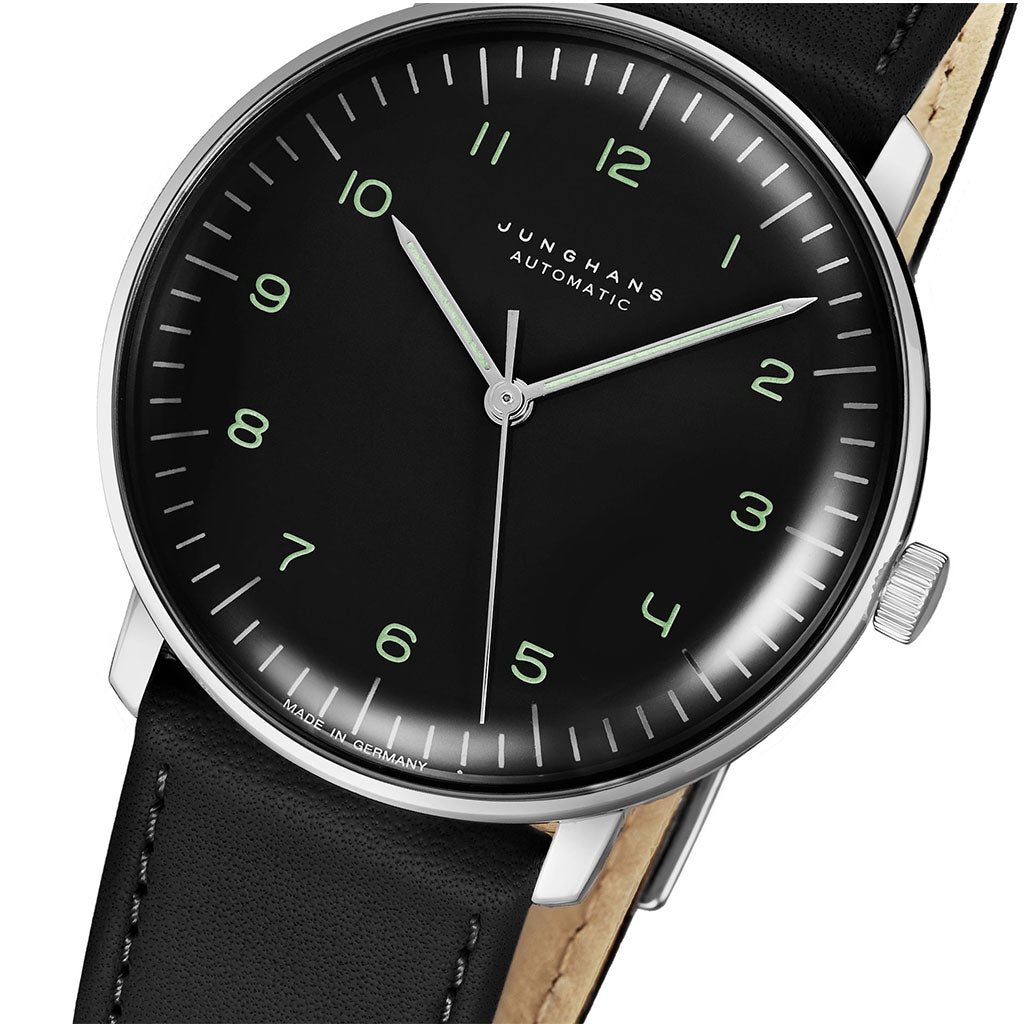 Junghans Max Bill Automatic Watch | Black Calfskin Strap 027/3400.04
