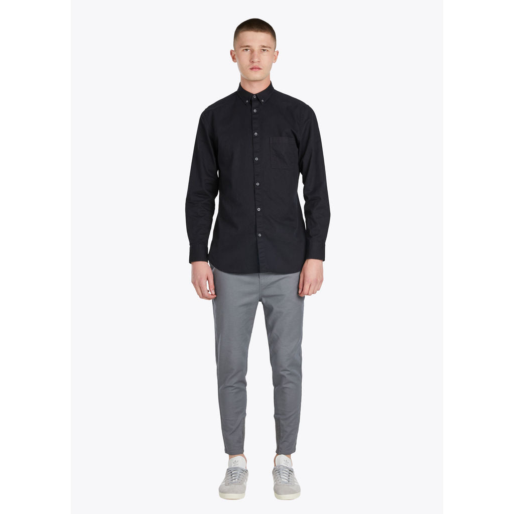 zanerobe 7ft long sleeve shirt in black denim sportique
