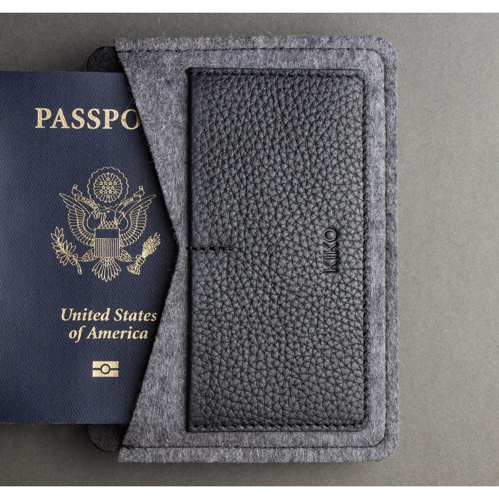 Kiko Leather Passport Holder | Black 302