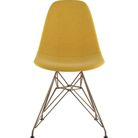 NyeKoncept Mid Century Classroom Side Chair | Papaya Yellow/Brass 331003CL2