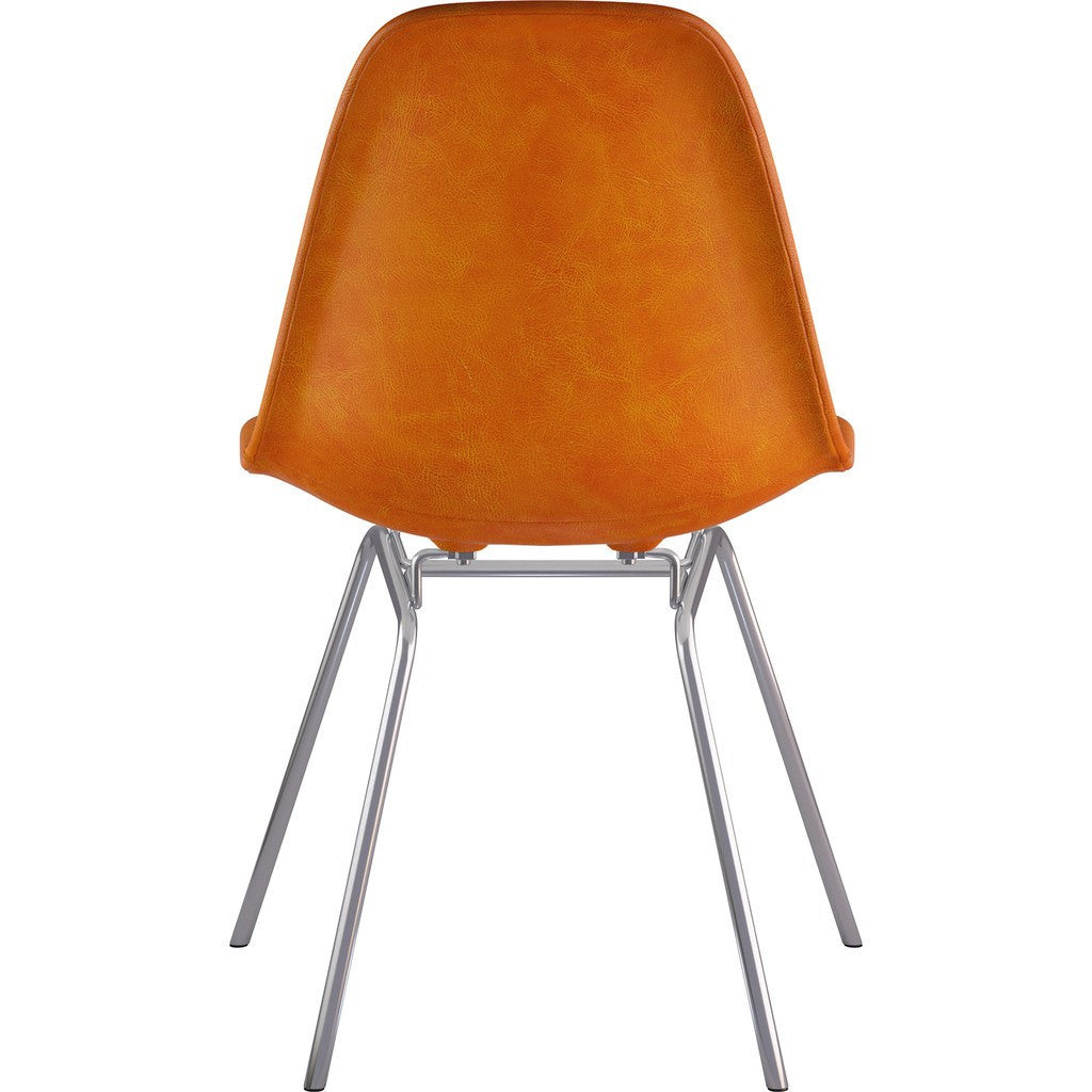 NyeKoncept Mid Century Classroom Side Chair | Burnt Orange/Nickel 331011CL1
