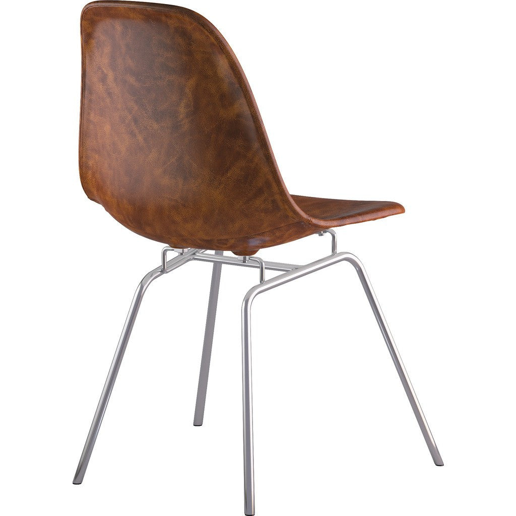 NyeKoncept Mid Century Classroom Side Chair | Weathered Whiskey/Nickel 331013CL1