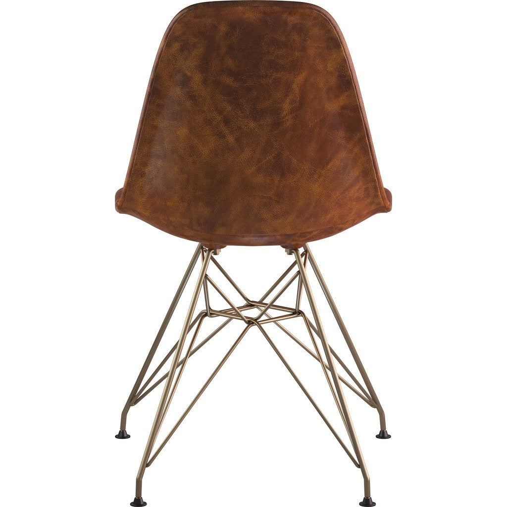 NyeKoncept Mid Century Eiffel Side Chair | Weathered Whiskey/Brass 331013EM2