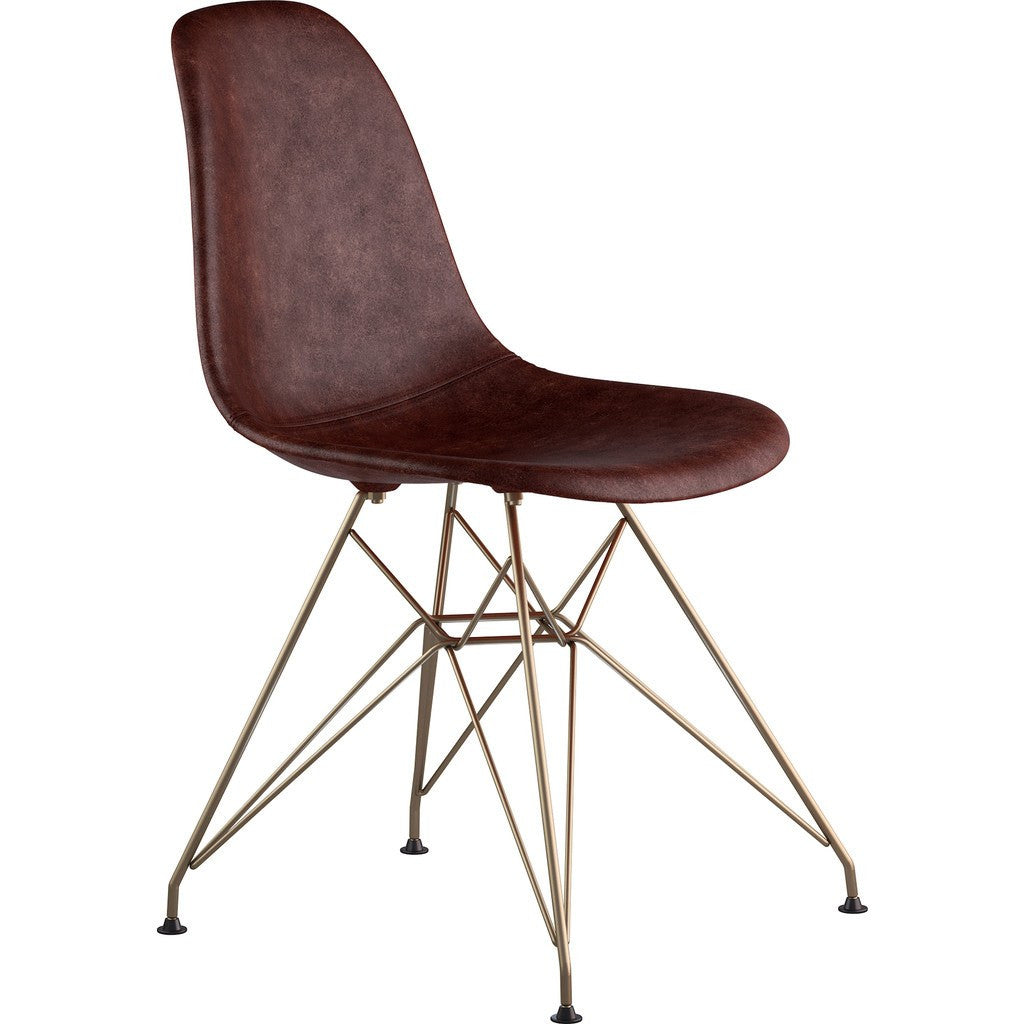 NyeKoncept Mid Century Eiffel Side Chair | Aged Cognac/Brass 331014EM2