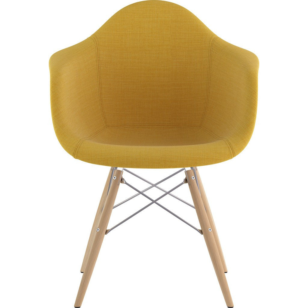 NyeKoncept Mid Century Dowel  Arm Chair | Papaya Yellow/Nickel 332003EW1
