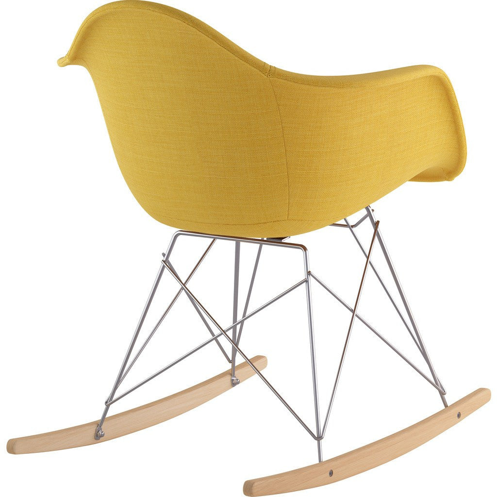 NyeKoncept Mid Century Rocker Chair | Papaya Yellow/Nickel 332003RO1
