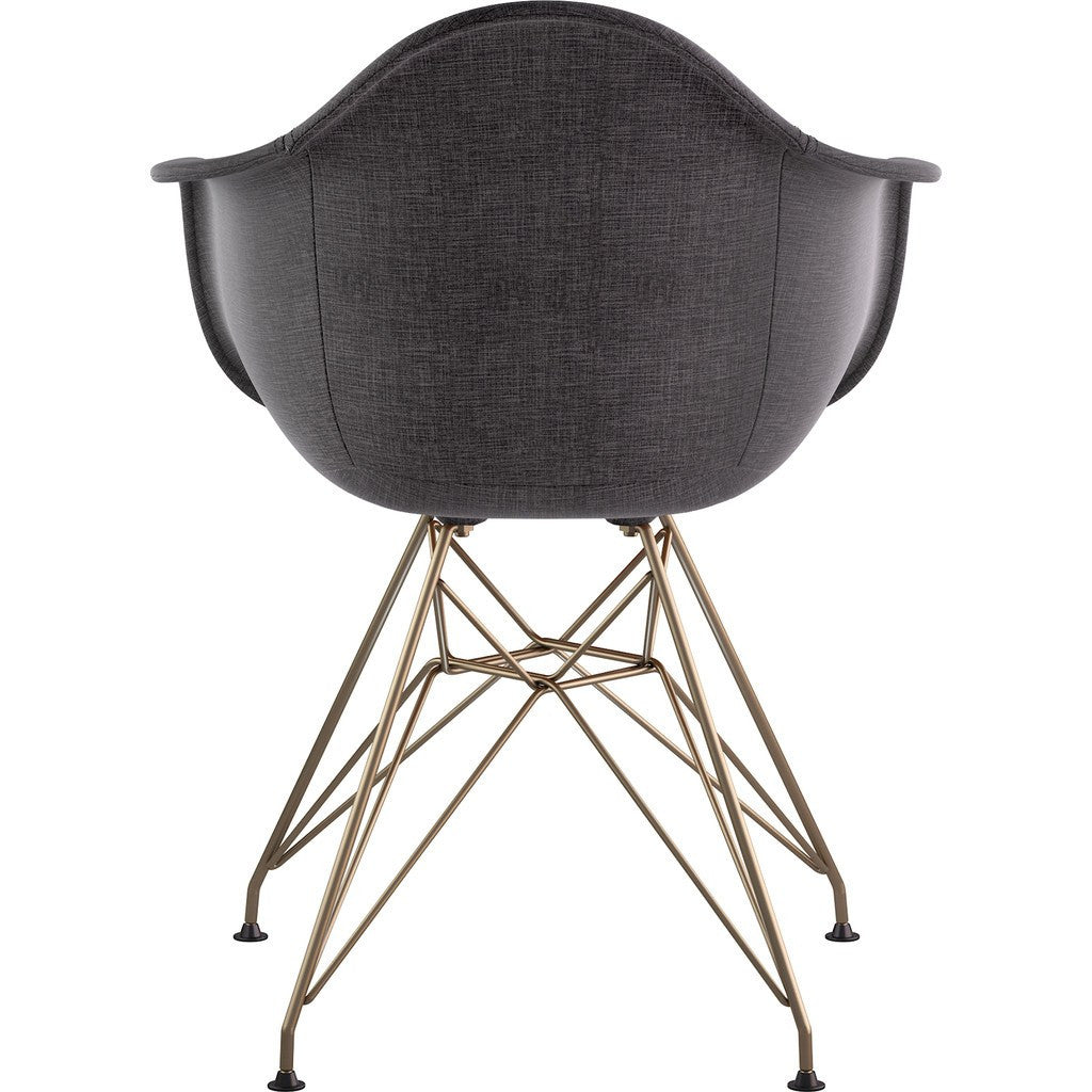 NyeKoncept Mid Century Eiffel  Arm Chair | Charcoal Gray/Brass 332008EM2