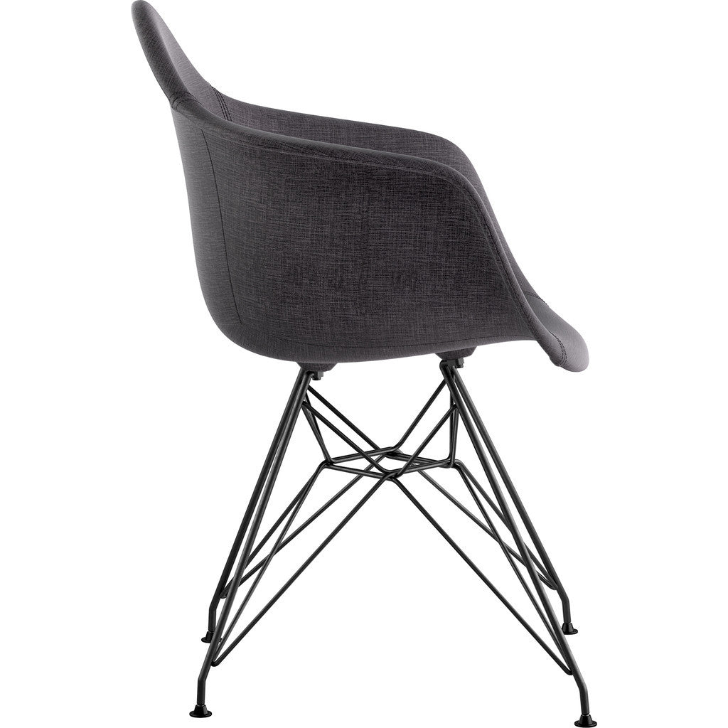 NyeKoncept Mid Century Eiffel  Arm Chair | Charcoal Gray/Gunmetal 332008EM3