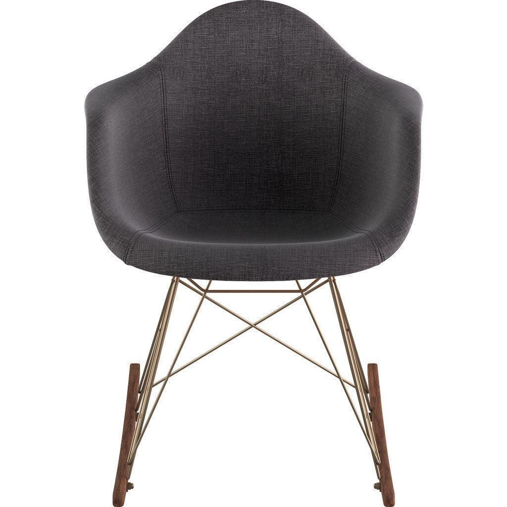 NyeKoncept Mid Century Rocker Chair | Charcoal Gray/Brass 332008RO2