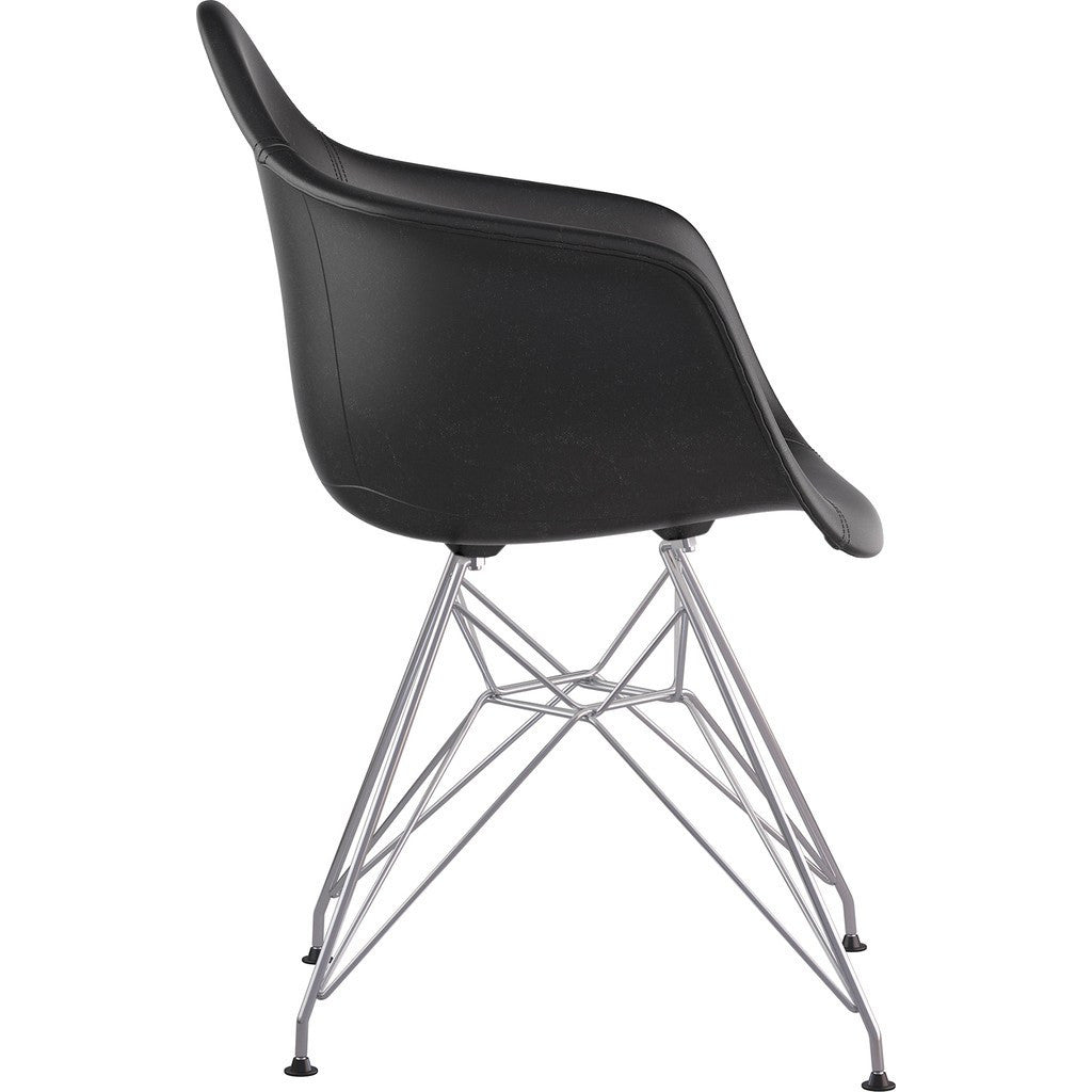 NyeKoncept Mid Century Eiffel Arm Chair | Milano Black/Nickel 332009EM1