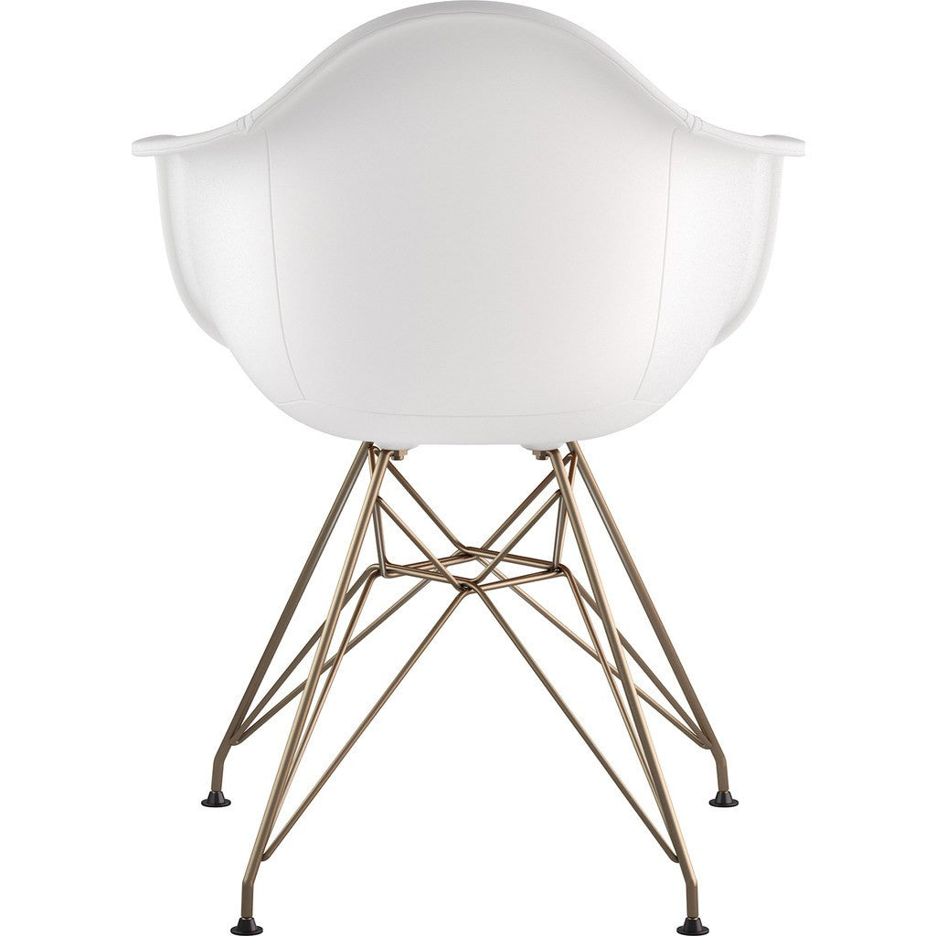 NyeKoncept Mid Century Eiffel Arm Chair | Milano White/Brass 332010EM2
