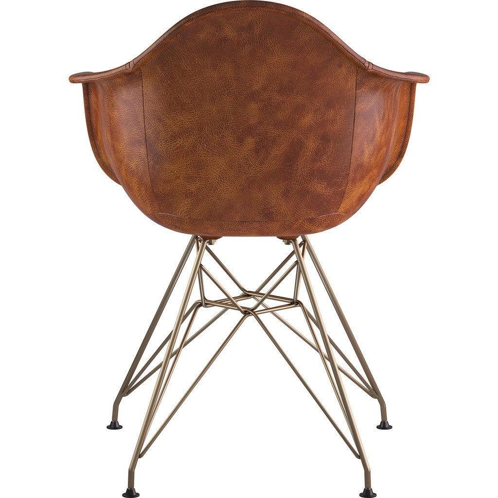 NyeKoncept Mid Century Eiffel Arm Chair | Weathered Whiskey/Brass 332013EM2