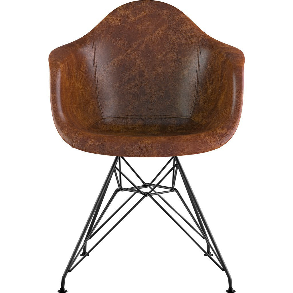 NyeKoncept Mid Century Eiffel Arm Chair | Weathered Whiskey/Gunmetal 332013EM3