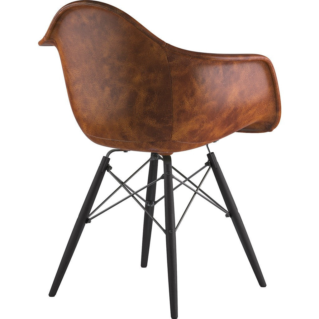 NyeKoncept Mid Century Dowel Arm Chair | Weathered Whiskey/Gunmetal 332013EW3