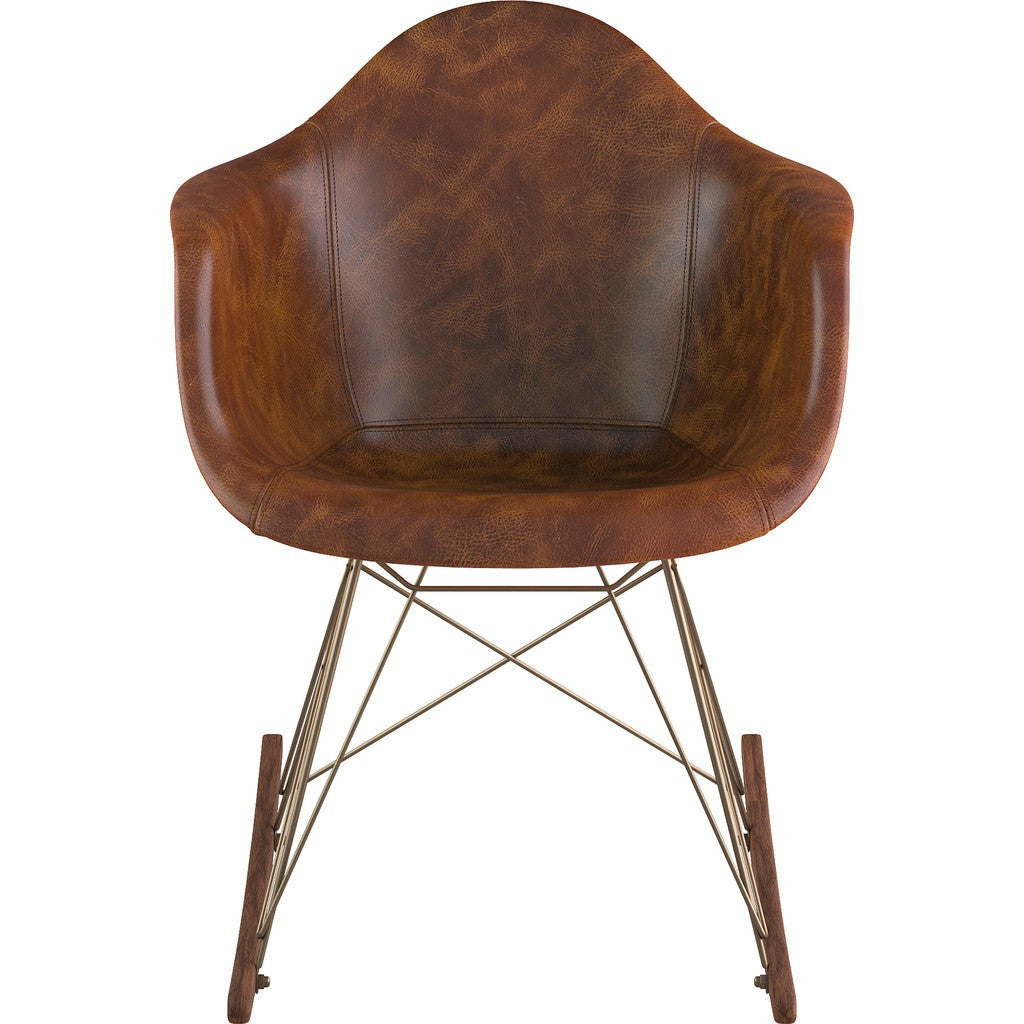 NyeKoncept Mid Century Rocker Chair | Weathered Whiskey/Brass 332013RO2