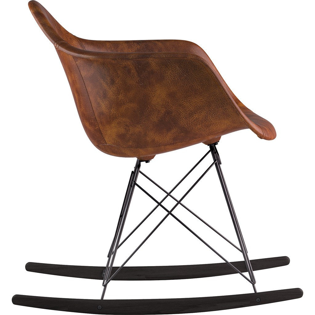 NyeKoncept Mid Century Rocker Chair | Weathered Whiskey/Gunmetal 332013RO3