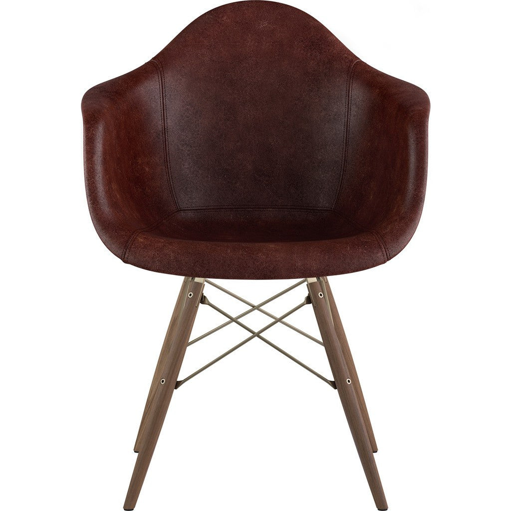NyeKoncept Mid Century Dowel  Arm Chair | Aged Cognac/Brass 332014EW2