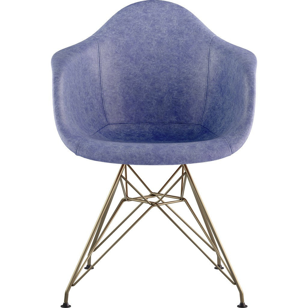 NyeKoncept Mid Century Eiffel Arm Chair | Weathered Blue/Brass 332015EM2