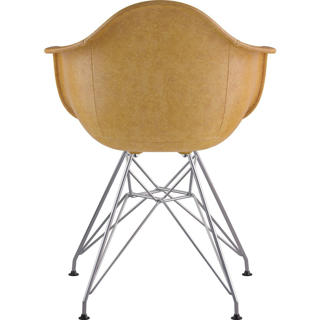 NyeKoncept Mid Century Eiffel Arm Chair | Aged Maple/Nickel 332016EM1