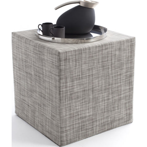 Chilewich Mini Basketweave Cube Accent Table | Gravel - 340112-010
