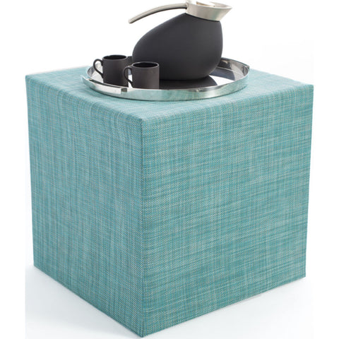 Chilewich Mini Basketweave Cube Accent Table | Turquoise - 340112-019