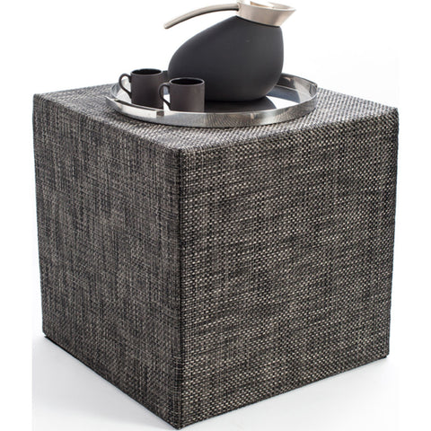 Chilewich Basketweave Cube Accent Table | Carbon - 340113-007