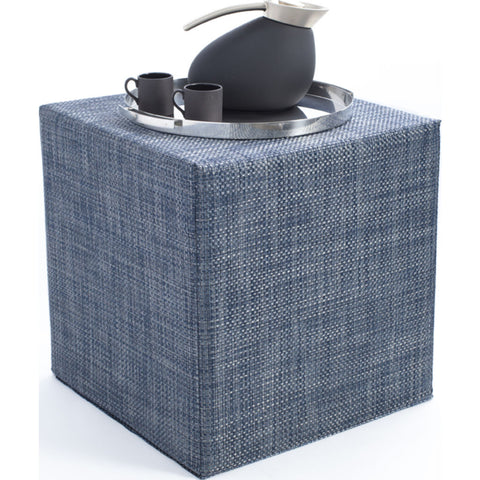 Chilewich Basketweave Cube Accent Table | Denim - 340113-012