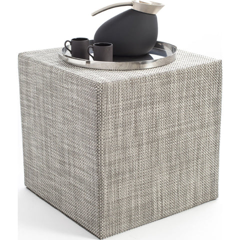 Chilewich Basketweave Cube Accent Table | Oyster - 340113-022
