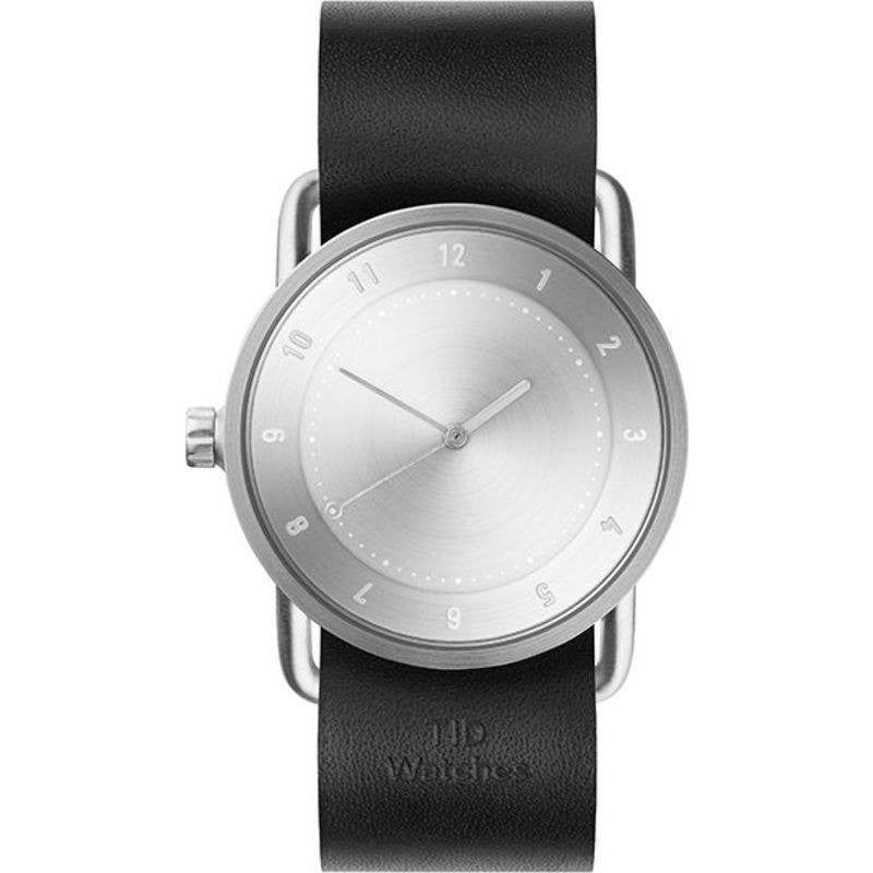 TID No. 2 36 Brushed Steel Watch | Black Leather
